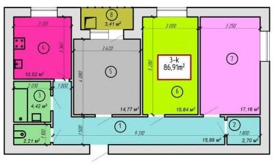 ЖК Дворецкий: планировка 3-комнатной квартиры 86.91 м2, тип 3-86.91