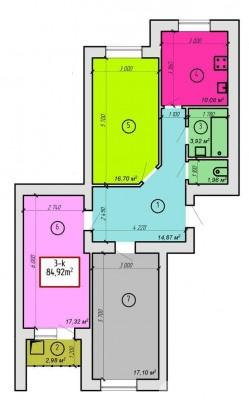 ЖК Дворецкий: планировка 3-комнатной квартиры 84.91 м2, тип 3-84.91