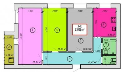 ЖК Дворецкий: планировка 3-комнатной квартиры 83.08 м2, тип 3-83.08