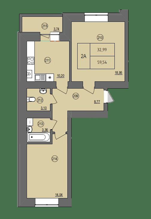 ЖК Жасмин: планировка 2-комнатной квартиры 59.54 м2, тип 2А