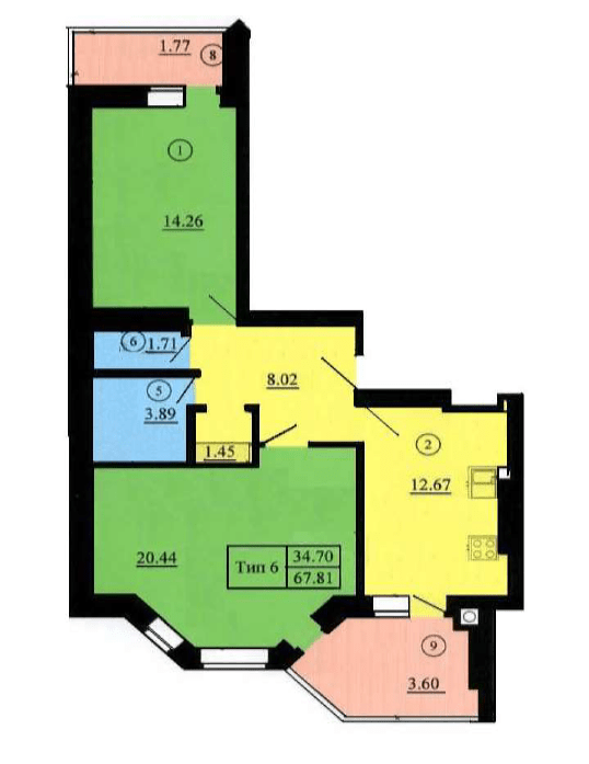 ЖК Петровский обновленный: планировка 2-комнатной квартиры 70.07 м2, тип 2-67.81