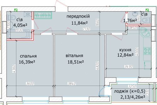 ЖК Кришталеві джерела: планировка 2-комнатной квартиры 67.34 м2, тип 2м