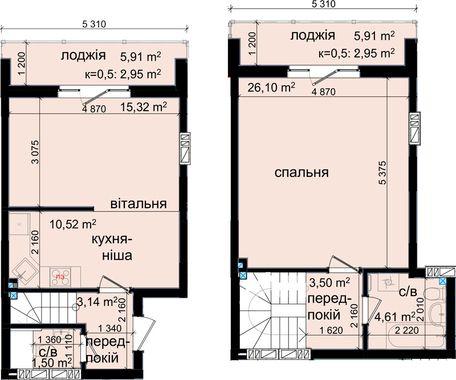 ЖК Кришталеві джерела: планировка двухуровневой квартиры 70.59 м2, тип 2є