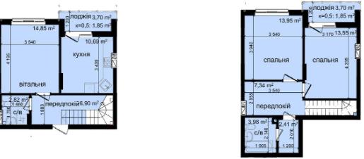 ЖК Кришталеві джерела: планировка двухуровневой квартиры 80.19 м2, тип 3у