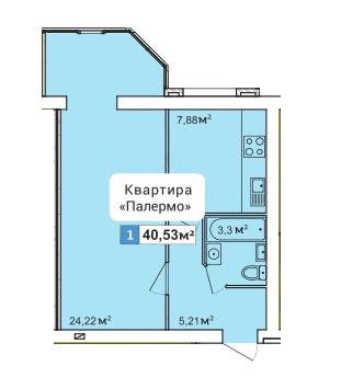 ЖК River Town: планування 1-кімнатної квартири 40.53 м2, тип 1-40.53