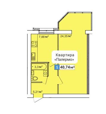 ЖК River Town: планування 1-кімнатної квартири 40.74 м2, тип 1-40.74