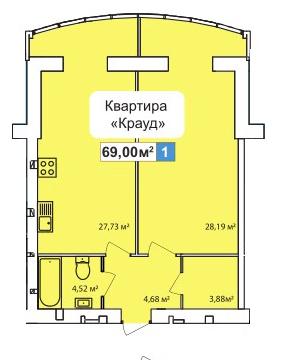 ЖК River Town: планировка 1-комнатной квартиры 69 м2, тип 1-69