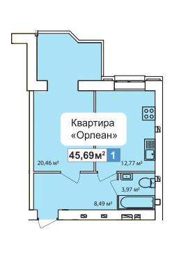 ЖК River Town: планування 1-кімнатної квартири 45.69 м2, тип 1-45.69