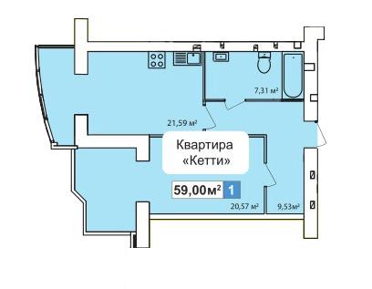 ЖК River Town: планування 1-кімнатної квартири 59 м2, тип 1-59