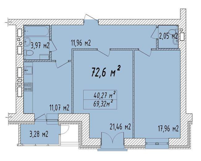 ЖК Графский: планировка 2-комнатной квартиры 72.6 м2, тип 2-72.6