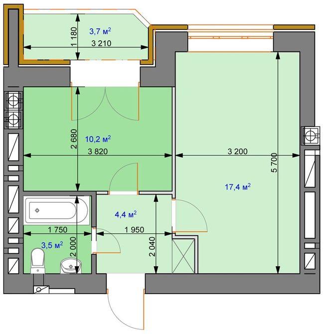 ЖК Ірпінь парк: планування 1-кімнатної квартири 34.2 м2, тип 1-А