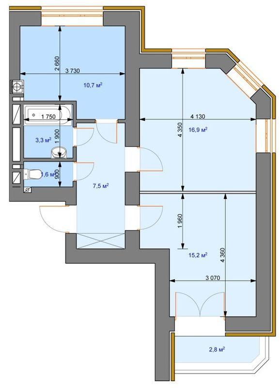 ЖК Ірпінь парк: планування 2-кімнатної квартири 58 м2, тип 2-А