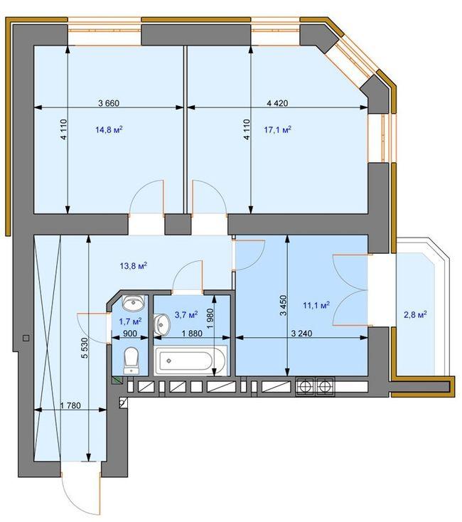 ЖК Ірпінь парк: планування 2-кімнатної квартири 65 м2, тип 2-В
