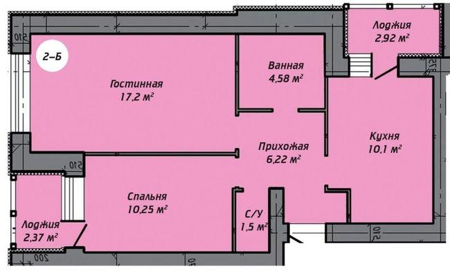 ЖК Ірпінь парк: планування 2-кімнатної квартири 42.59 м2, тип 2-Б