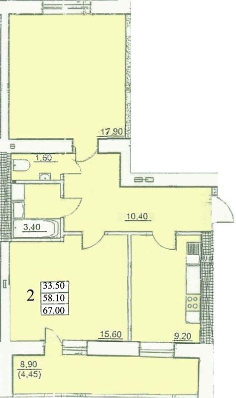 ЖК Сахарова: планировка 2-комнатной квартиры 67 м2, тип 2-67.00