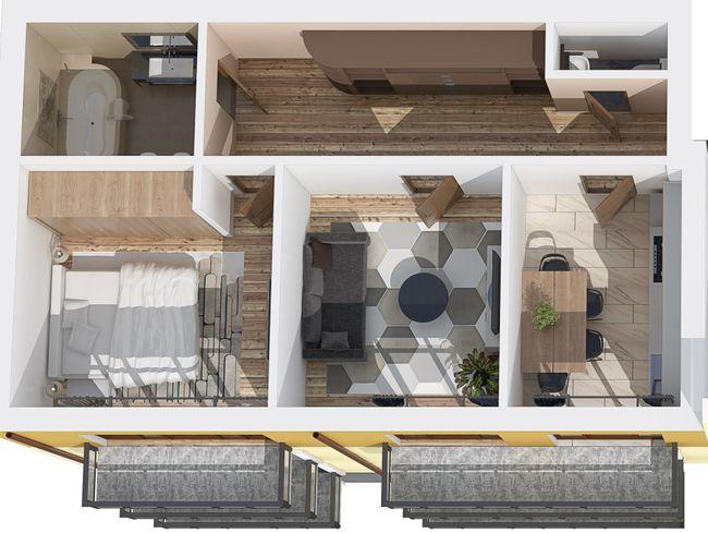 ЖК Каменецкий: планировка 2-комнатной квартиры 68 м2, тип 2-68.00
