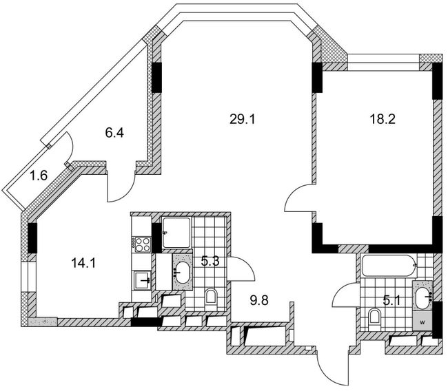 ЖК PecherSKY: планировка 2-комнатной квартиры 87.1 м2, тип 2-87.1