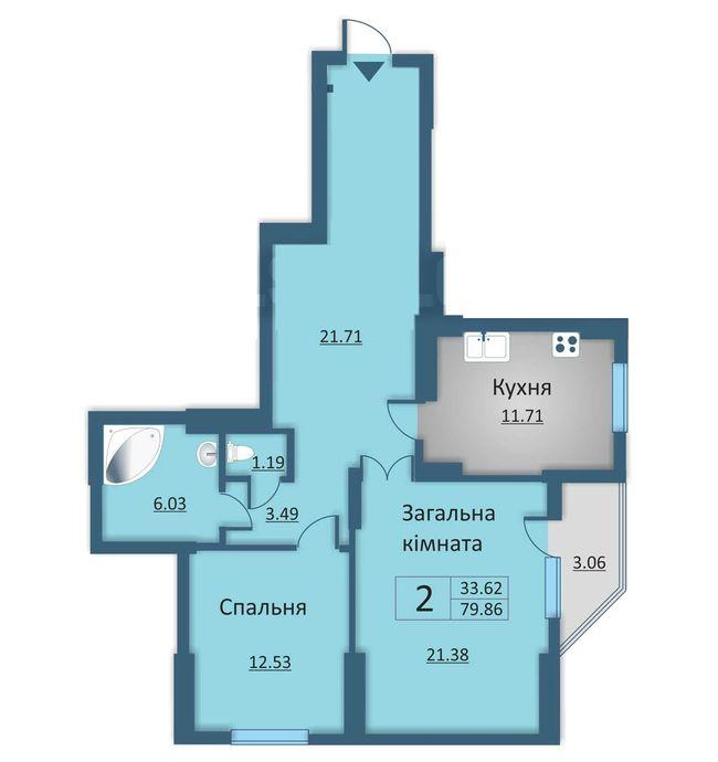 вул. Каунаська, 2а: планування 2-кімнатної квартири 79.86 м2, тип 2-79.86