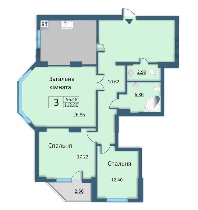 ул. Каунасская, 2а: планировка 3-комнатной квартиры 112.8 м2, тип 3-112.80