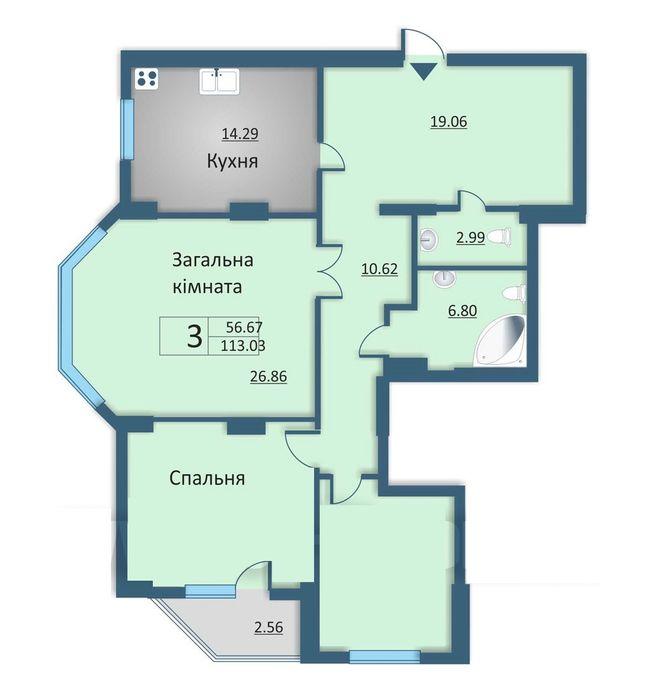вул. Каунаська, 2а: планування 3-кімнатної квартири 113.03 м2, тип 3-113.03