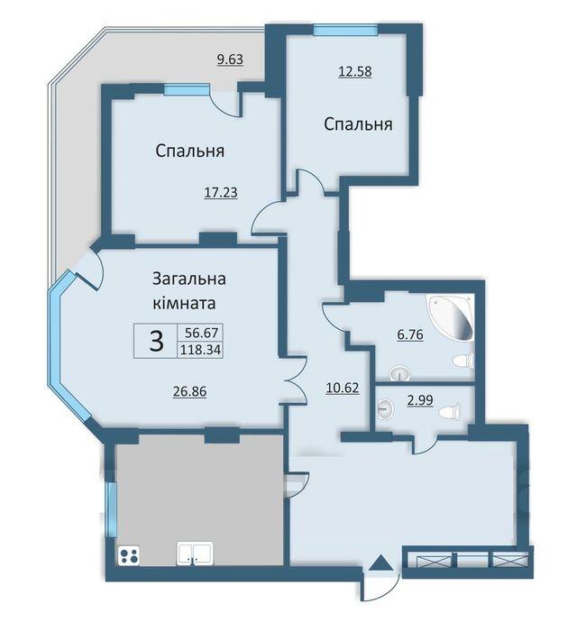 вул. Каунаська, 2а: планування 3-кімнатної квартири 118.34 м2, тип 3-118.34