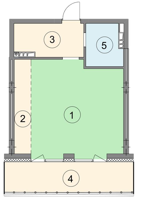 ЖК Crystal Park: планировка 1-комнатной квартиры 47.8 м2, тип 1-47.8