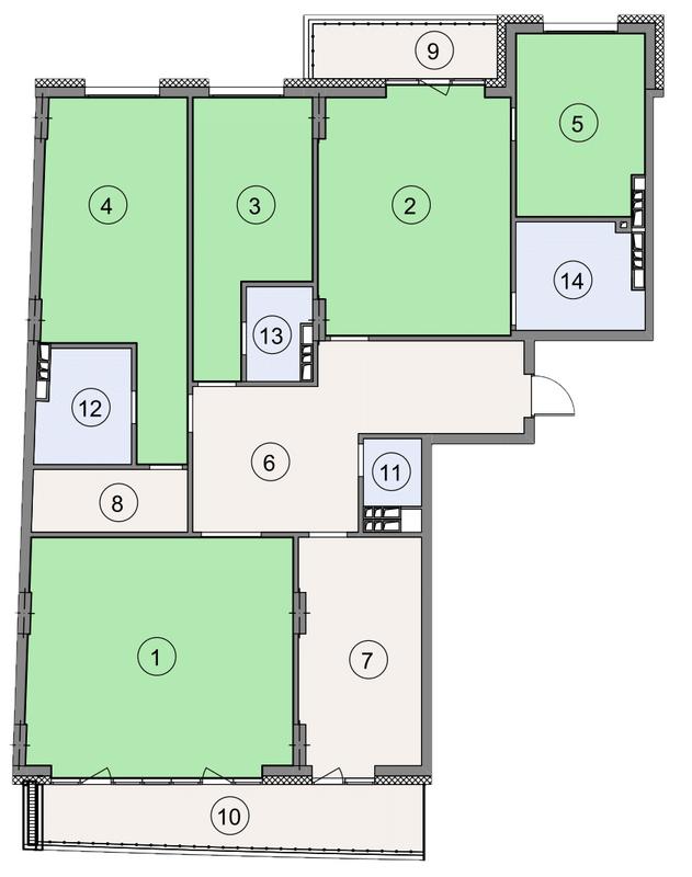 ЖК Crystal Park: планировка 5-комнатной квартиры 190.5 м2, тип 5-190.5