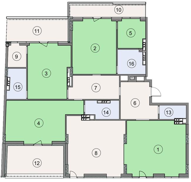ЖК Crystal Park: планування 5-кімнатної квартири 231.3 м2, тип 5-231.3