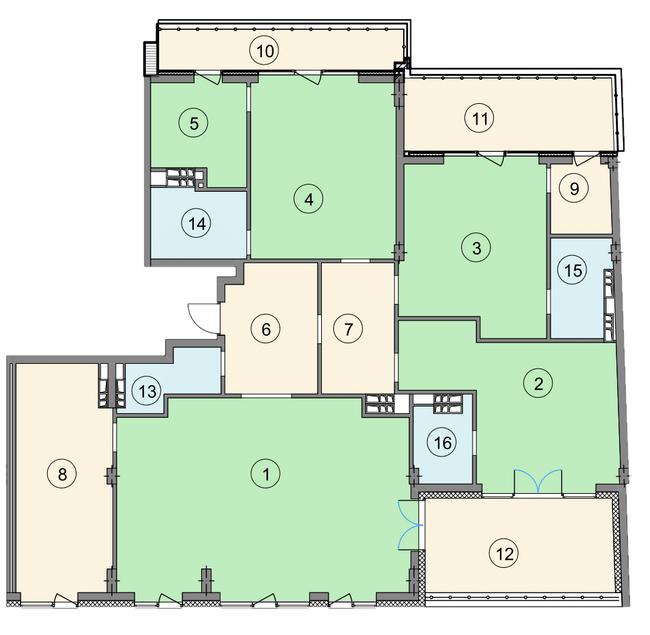 ЖК Crystal Park: планування 5-кімнатної квартири 226.3 м2, тип 5-226.3
