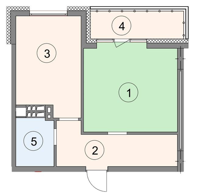 ЖК Crystal Park: планировка 1-комнатной квартиры 47.6 м2, тип 1-47.6