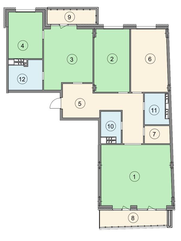 ЖК Crystal Park: планування 4-кімнатної квартири 161.9 м2, тип 4-161.9