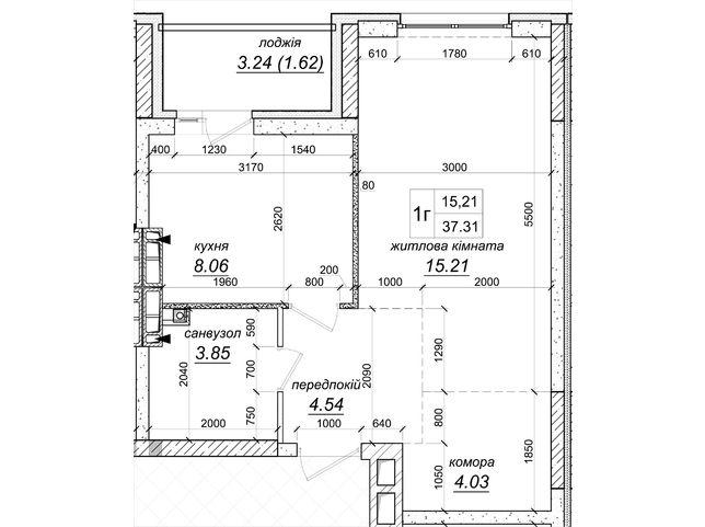 ЖК Атлант 2: планировка 1-комнатной квартиры 38.93 м2, тип 1г