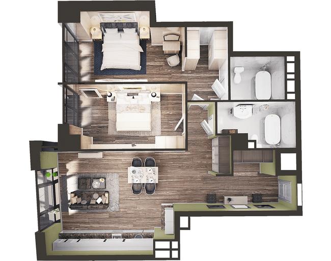 ЖК Park Avenue VIP: планировка 2-комнатной квартиры 106.44 м2, тип Стамбул