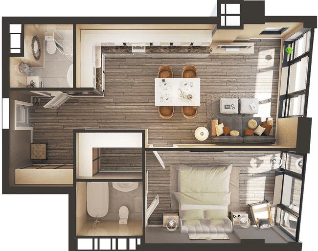 ЖК Park Avenue VIP: планировка 1-комнатной квартиры 62.93 м2, тип Токио