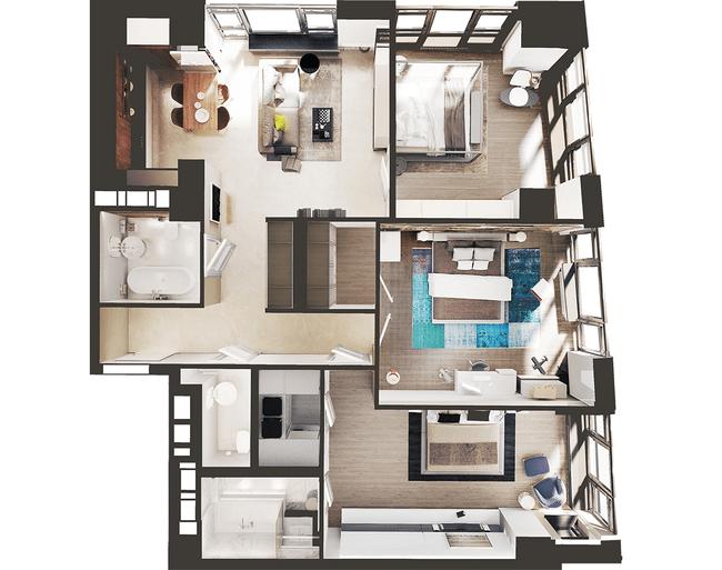 ЖК Park Avenue VIP: планировка 3-комнатной квартиры 121.49 м2, тип Монреаль