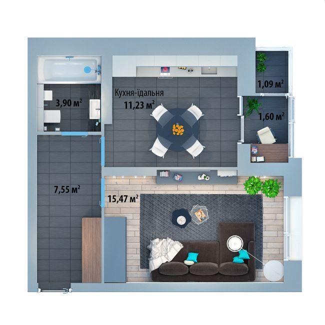 ЖК Солом'янська, 20А: планування 1-кімнатної квартири 40.45 м2, тип 1-40.45
