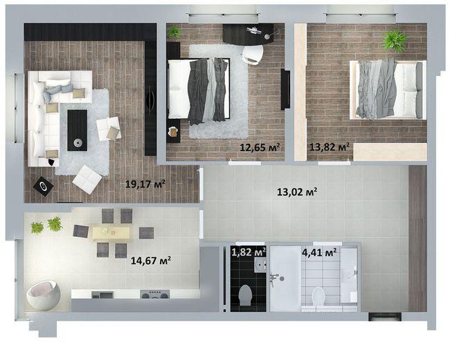 ЖК Солом'янська, 20А: планування 3-кімнатної квартири 83.05 м2, тип 3-83.05