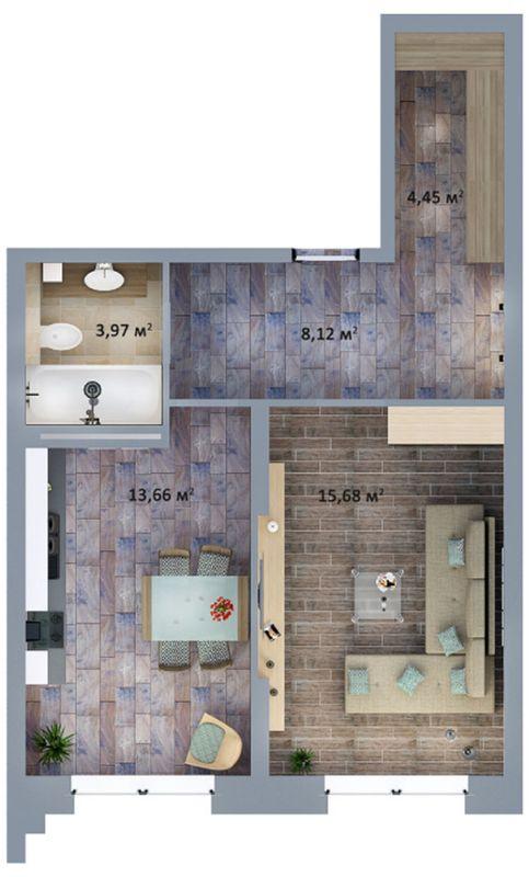 ЖК Солом'янська, 20А: планування 1-кімнатної квартири 45.88 м2, тип 1-45.88