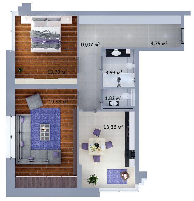 ЖК Солом'янська, 20А: планування 2-кімнатної квартири 67.21 м2, тип 2-67.21