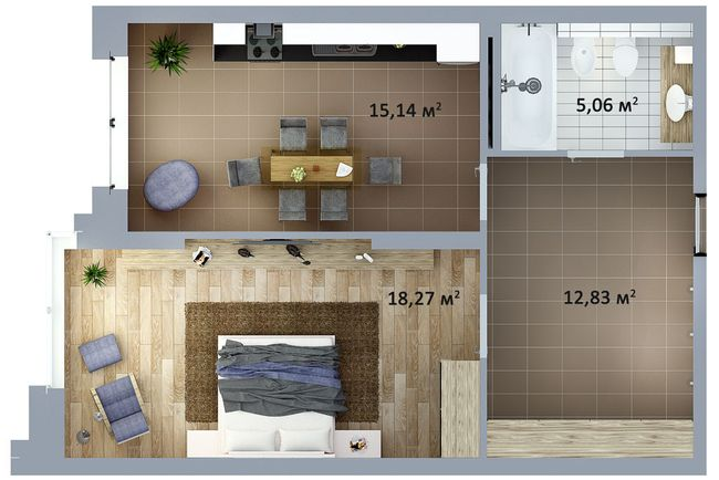 ЖК Солом'янська, 20А: планування 1-кімнатної квартири 51.3 м2, тип 1-51.30