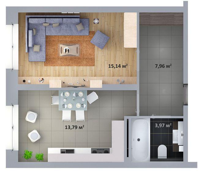 ЖК Солом'янська, 20А: планування 1-кімнатної квартири 40.86 м2, тип 1-40.86