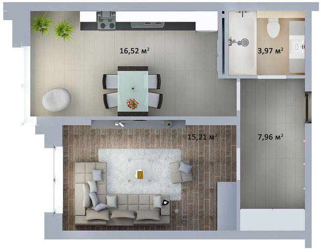 ЖК Солом'янська, 20А: планування 1-кімнатної квартири 43.66 м2, тип 1-43.66