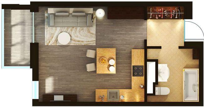 ЖК Elyseum: планування 1-кімнатної квартири 31.93 м2, тип 1-31.93
