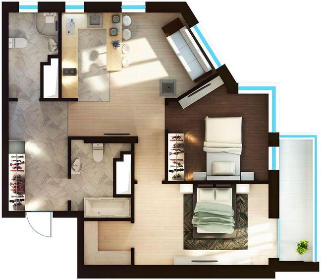 ЖК Elyseum: планировка 2-комнатной квартиры 76.01 м2, тип 2-76.01