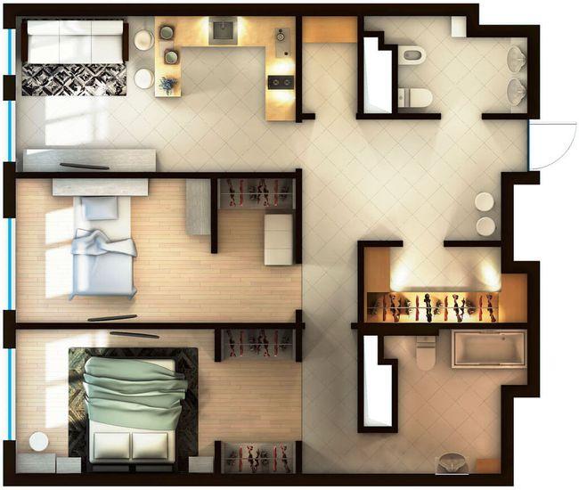 ЖК Elyseum: планування 2-кімнатної квартири 80.96 м2, тип 2-80.96