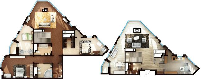 ЖК Elyseum: планування дворівневої квартири 184.44 м2, тип 5-184.44