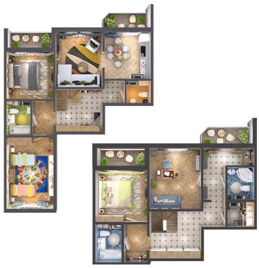 ЖК Амурський (Lemonade): планування дворівневої квартири 146.6 м2, тип 4А