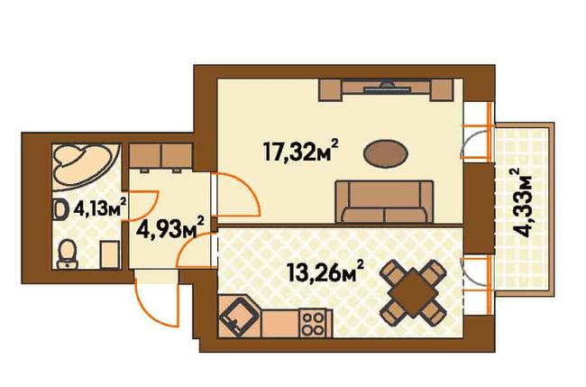 ЖК Янтарний: планування 1-кімнатної квартири 40.93 м2, тип 1-А