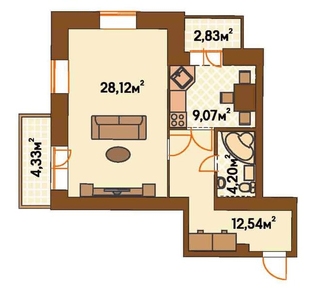 ЖК Янтарний: планування 1-кімнатної квартири 57.5 м2, тип 1-Б/1