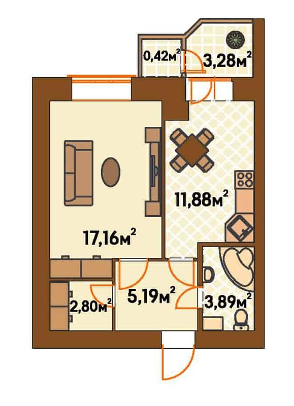 ЖК Янтарний: планування 1-кімнатної квартири 44.61 м2, тип 1-Г/1